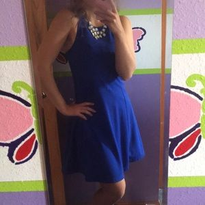 Royal Blue Old Navy Fit and Flare High Neck Dress